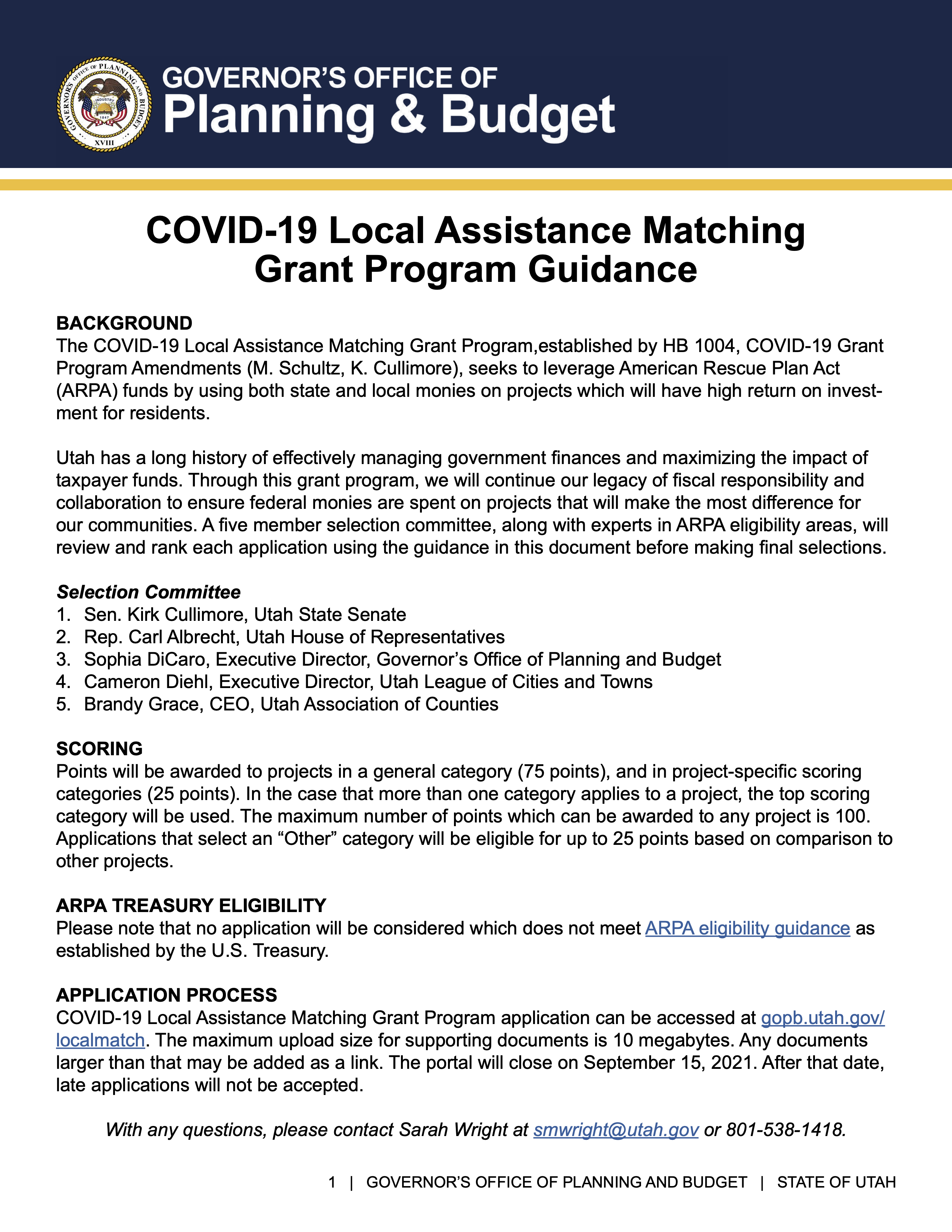 Link to COVID-19 Local Assistance Matching Grant Program Guidance